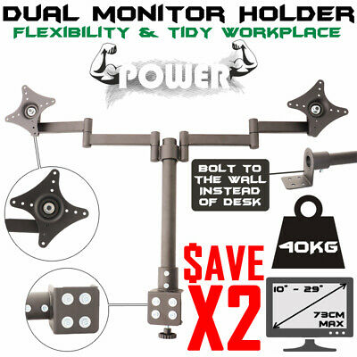 2 X Dual Hd Led Monitor Stand 2 Arm Holds Two Lcd Screen Tv Desk Mount Bracket