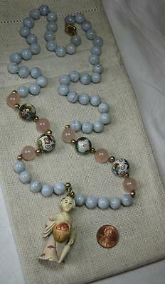 Carved Necklace Chinese 14K Gold Antique Blue Lace Agate Gold Beads Vintage Rare
