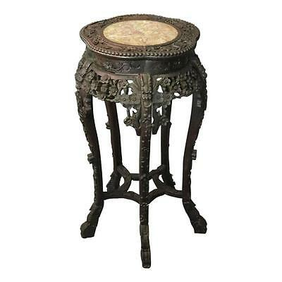 Antique Chinese Export Floral Carved Hardwood Marble Top Plant Stand, circa 1900