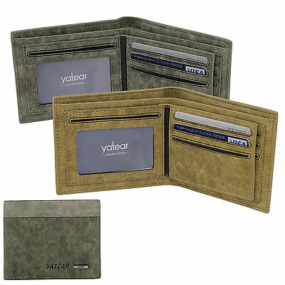Mens Luxury Soft Business Leather Bifold Wallet Credit Card Holder Purse