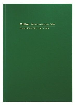 Diary Collins A4 2017/2018 Financial Year Week To Open Green #34M4