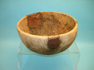 """Antique Primitive Wooden Kitchen Bowl with Metal Patches & Repairs 10 3/4"""""""