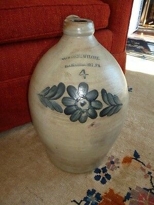 Cowden & Wilcox Harrisburg PA 4 gal OVOID JUG w/ Blue FLOWERS Antique vtg