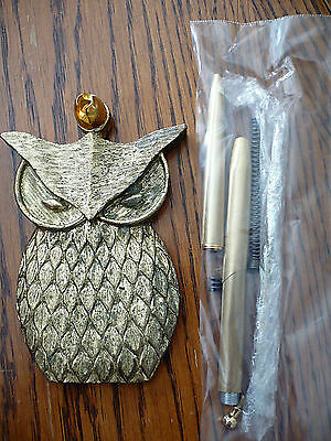 Vintage Brass Owl, Pen Holder in Old May Company Box