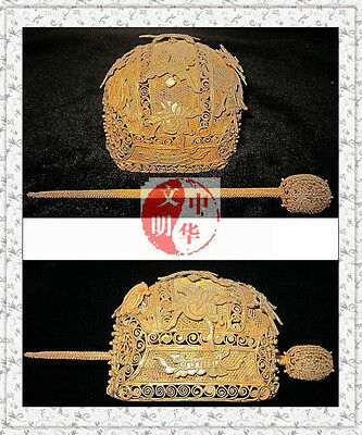 Collectable Mingqing Kingdom Noble Hairpin Gold Silver Bat Statue Hood Coronet头巾