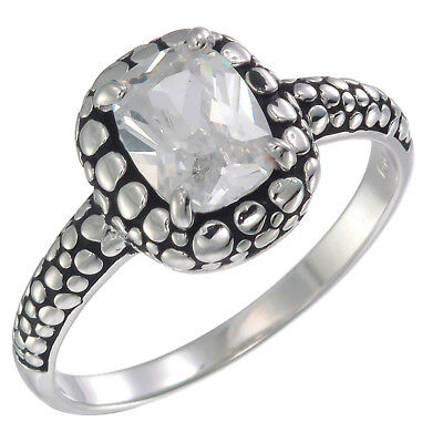 Sterling Silver CZ Ring With Antique Finish (8x6 MM)