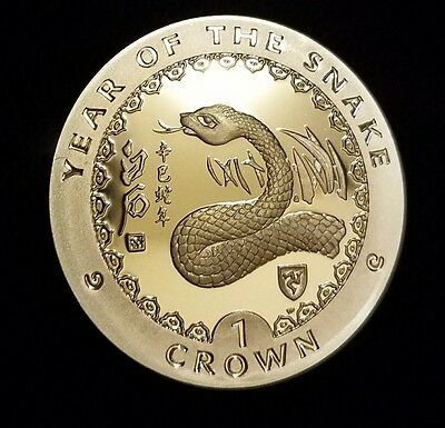Isle of Man 2001 Snake, Silver Coin,Proof Rare in USA!