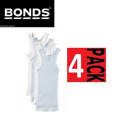 4 PACK x BONDS BABY VESTS Ribbed Singlets Chesty Blue White Basic Essentials