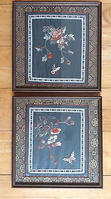 Antique 1800s Silk Panels Chinese Forbidden Stitch Blossom Butterfies Embroidery