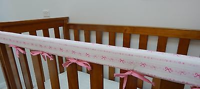 1 x Baby Crib Cot Rail Cover  Teething Pad  - Little Pink Bows ***REDUCED***