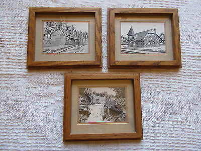 Set Of 3 X Pen & Ink Drawings Wood Frames - Canada Canadian Historical L/scapes