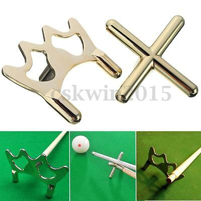 2Pcs Metal Pool Snooker Billiards Table Cue Brass Cross & Spider Holder Rests