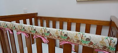 1 x Baby Crib Teething Pad Cot Rail Cover - Australian Animals - Pink -*REDUCED*