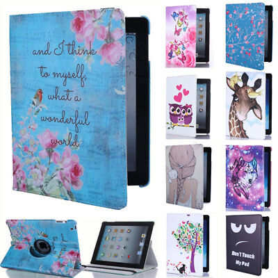 For Apple iPad 2 3 4 Mini Air Retro 360° Rotating Leather Smart Case Flip Cover