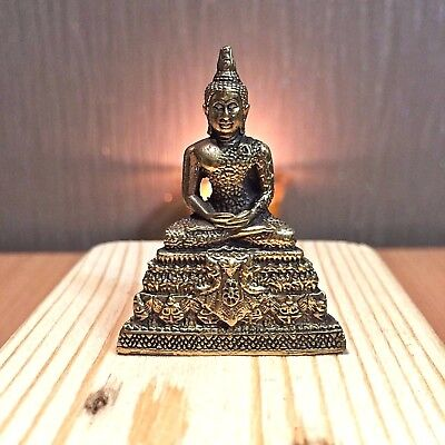 Thai Buddha Amulet Brass Sculpture Religious Meditation Statue Buddhist Mini New