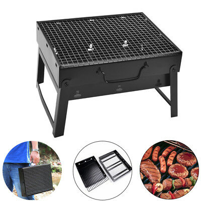 Portable Folding BBQ Barbecue Grill Charcoal Flat Pack Camping Outdoor Garden