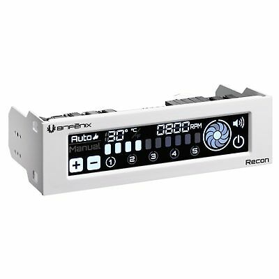 Bitfenix White Recon 5 Channel PC Case Fan Controller Touch Screen 5.25″