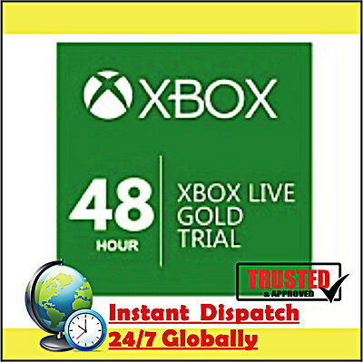 Xbox Live Gold Trial 2 Days 48 Hours Digital Codes Instant Dispatch Worldwide