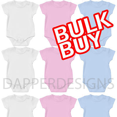 Baby Vests Grow Suit White Bulk Wholesale Soft Stretch Cotton Halfsleeve Made Uk
