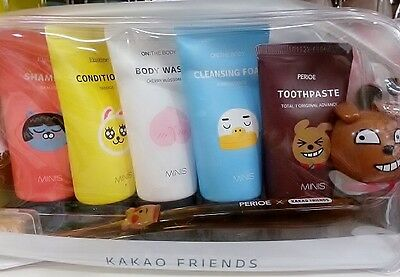 Bath travel bottles sets with 7 pcs Kakao Friends shampoo conditioner body wash