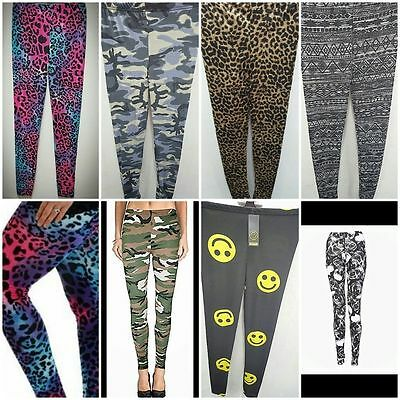 Ladies Women's Teenager Camouflage Leopard and Various Print Leggings Sizes 8-16