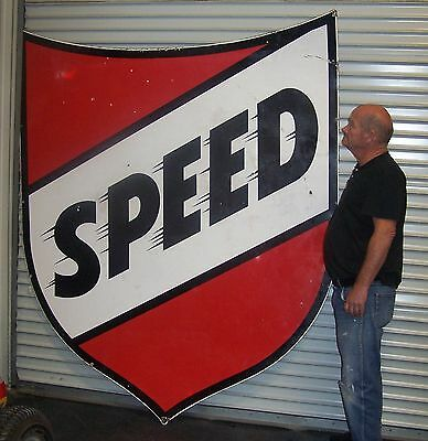 Speed Gasoline Porcelain Shield Sign Double Sided Big