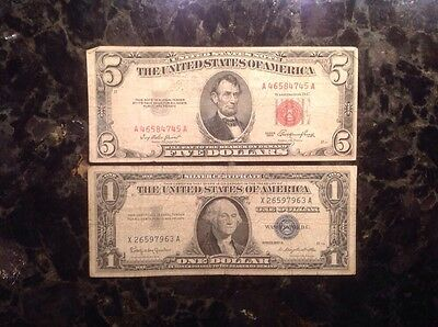 1953  $5 United States  Note - Red Seal + 1957B $1 Silver Certificate - Blue Sea