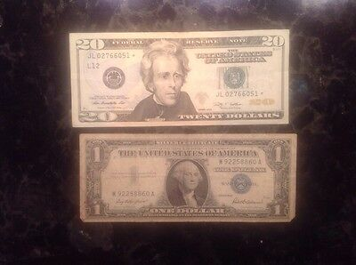 2009 $20 Federal Reserve Note - STAR NOTE + 1957  $1 Silver Certificate