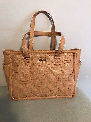 Longaberger Large Woven Leather Bag Purse Tote  in Caramel New Vera Kors Coach