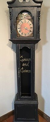 Grandfather Clock Black Wood With Painted Face