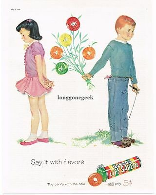 1956 Life Savers Five Flavors Shy Boy Girl Bouquet Frog art Vtg Print Ad