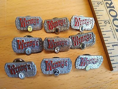 Vintage Wendy's Restaurant EMPLOYEE PIN year LOT Service badge fast food GROUP