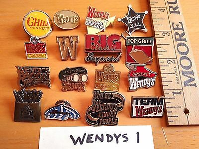 Vintage WENDY'S Restaurant EMPLOYEE PIN LOT group Service badge 16 PINS
