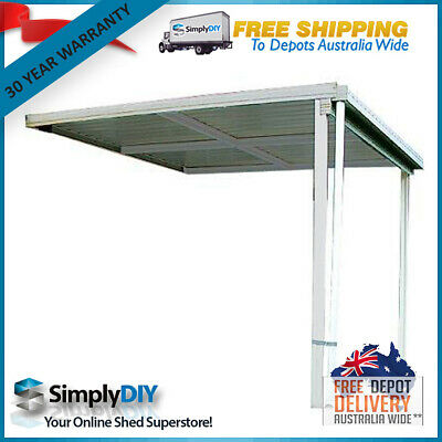 Absco Patio Verandah Awning Cover Flat Roof Shed - 3M X 3M X 3M - Zincalume