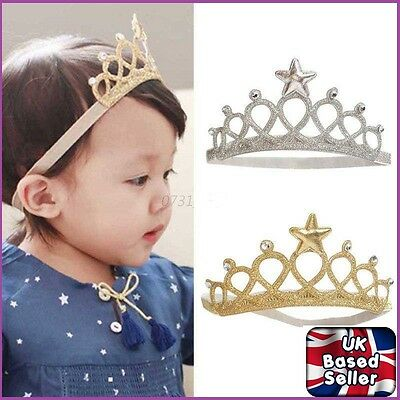 Girls Princess Crown Headband Hairband Gold SILVER Toddler Baby TIARA UK SELLER
