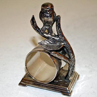 Antique Figural Napkin Ring with Owl and Hanging Ring