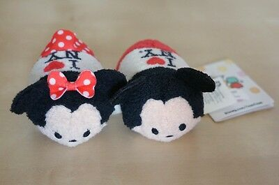 New Disney Store New York Mickey Minnie Tsum Tsum Plush Mini Heart - Set of 2