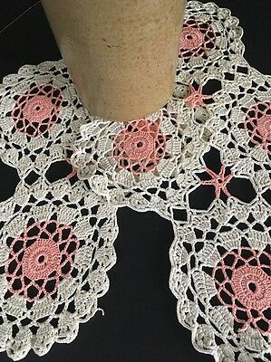 Vintage Ecru And Pink Cotton Crocheted Lace Doily Pair