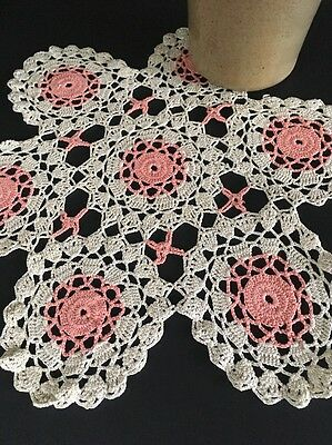 Vintage Ecru And Pink Cotton Crochet Lace Doily