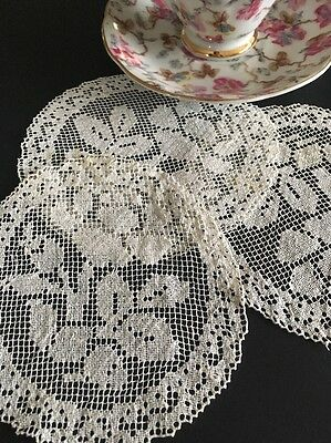 Vintage White Cotton Fillet Lace Doilies Or Coasters – Set Of Three