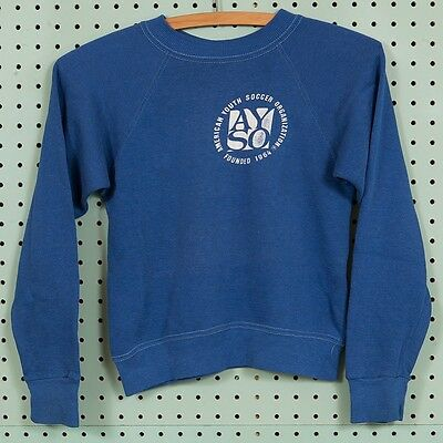 Vintage Blue Youth Soccer Sweatshirt Size Youth M Raglan Crewneck AYSO CA