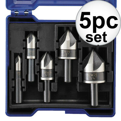 5pc 82 Degree Black Oxide Countersink Drill Bit for Metals Set Irwin 1877793 New
