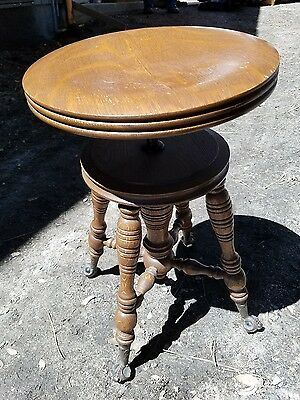 Antique Wood Clawfoot Glass Ball Piano Stool Bench Quarter Sawn Oak