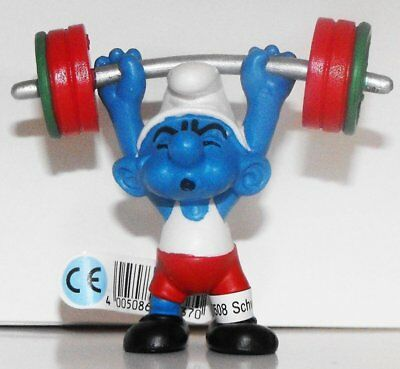 20737 Weightlifter Smurf Figurine 2012 Olympic Sports Set Weight lifter Smurfs