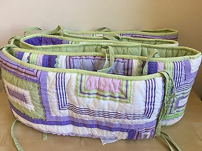 POTTERY BARN KIDS KATIE Patchwork Crib Bumper Purple Lavender Girls ...