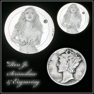 Hand Engraved Nude 90% Silver Mercury Dime by Ron Jr. Scrimshaw & Engraving #90