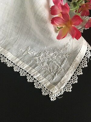 White Antique Linen Embroidered Wedding Handkerchief With Tatted Lace