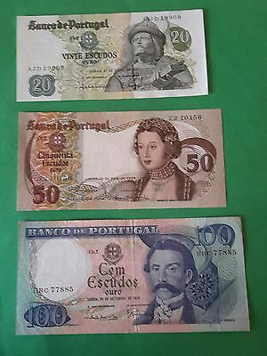28.2.17 # Lot 3 Banknotes Portugal 20 /50/100 Escudos