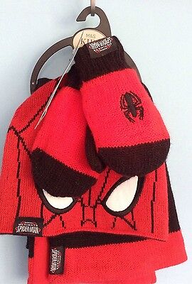 M & S Spiderman Hat, Scarf & Gloves Set 18-36 Months Marks And Spencer BNWT