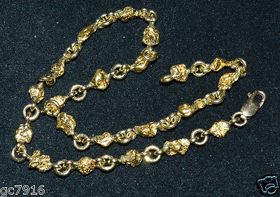 GOLD NUGGET ANKLET NATURAL 19.775g  Palmer River Qld  with 18ct Clasp & Links